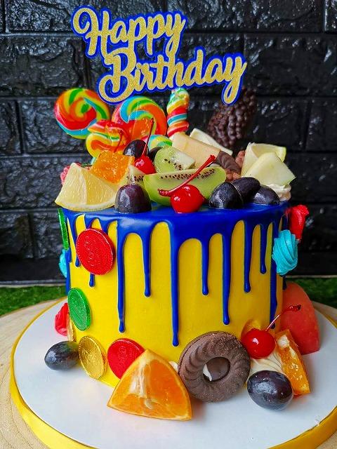 青 黄色 ケーキ